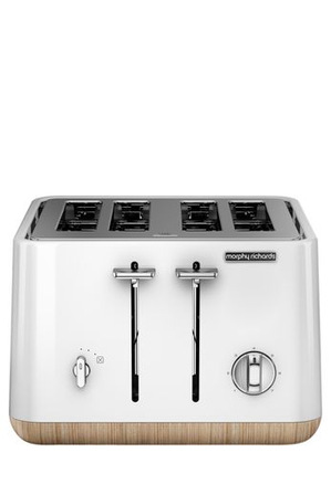 Morphy Richards - Scandi Aspects Wood 4 slice toaster:White 24005