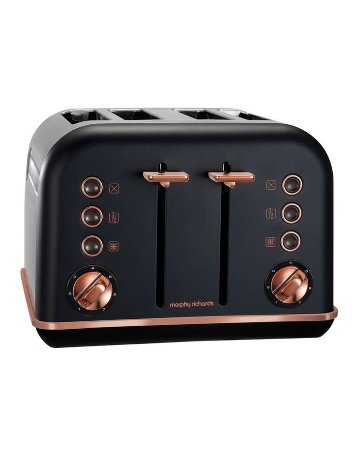 Accents Rose Gold Collection 4 Slice Toaster Matte Black image 1