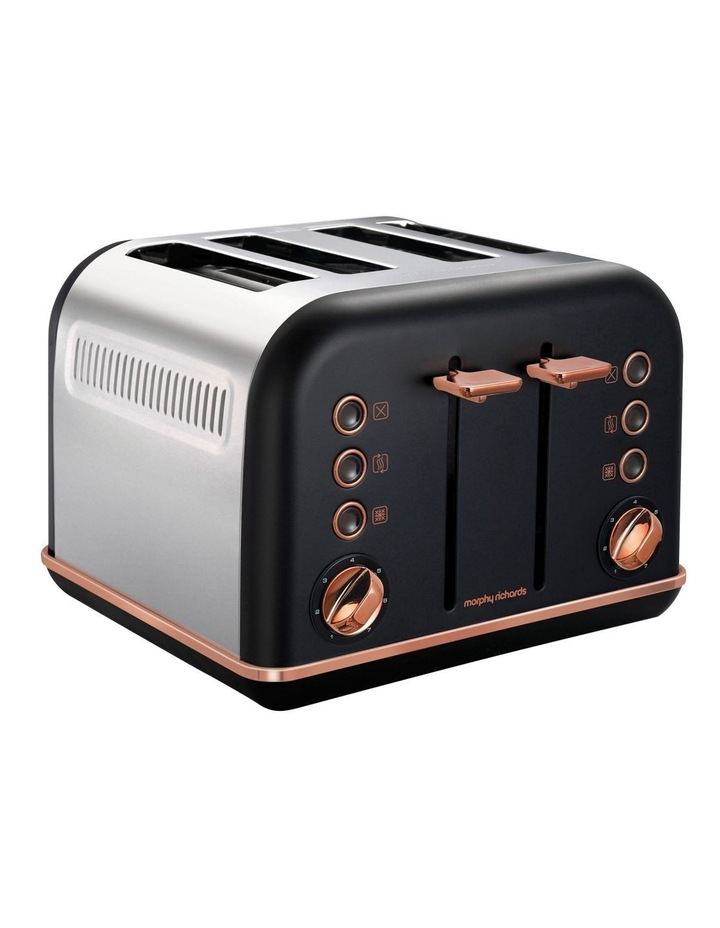 Accents Rose Gold Collection 4 Slice Toaster Matte Black image 2