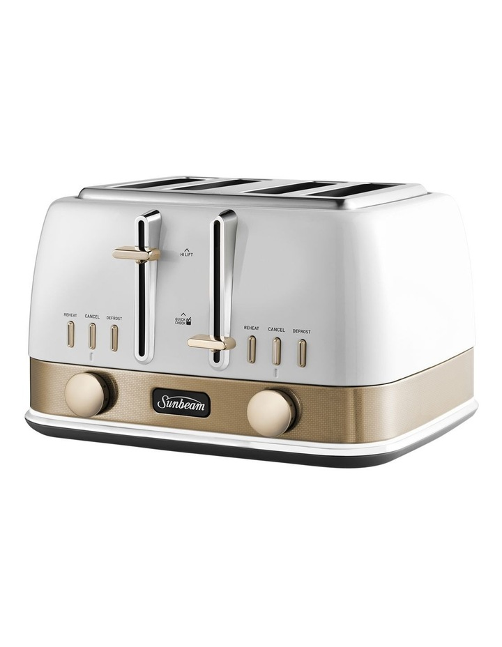 New York 4 Slice Toaster - White/Gold image 3