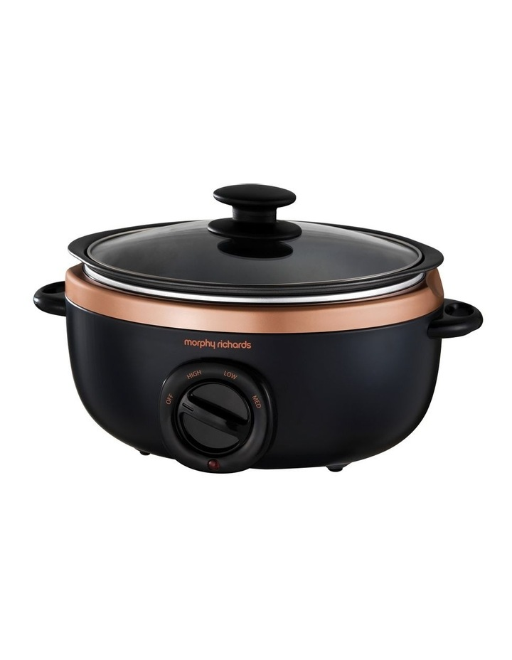 3.5L Sear & Stew Slow Cooker Black with Rose Gold 460016 image 1