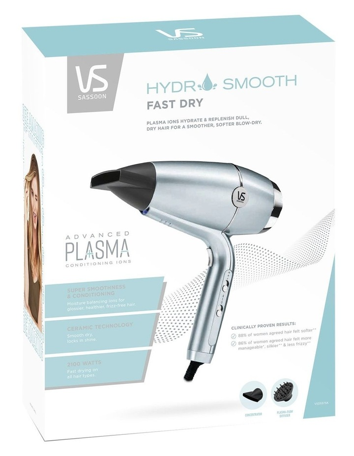 Hydro Smooth Fast Dry Hair Dryer Blue/Silver VSD5573A image 5