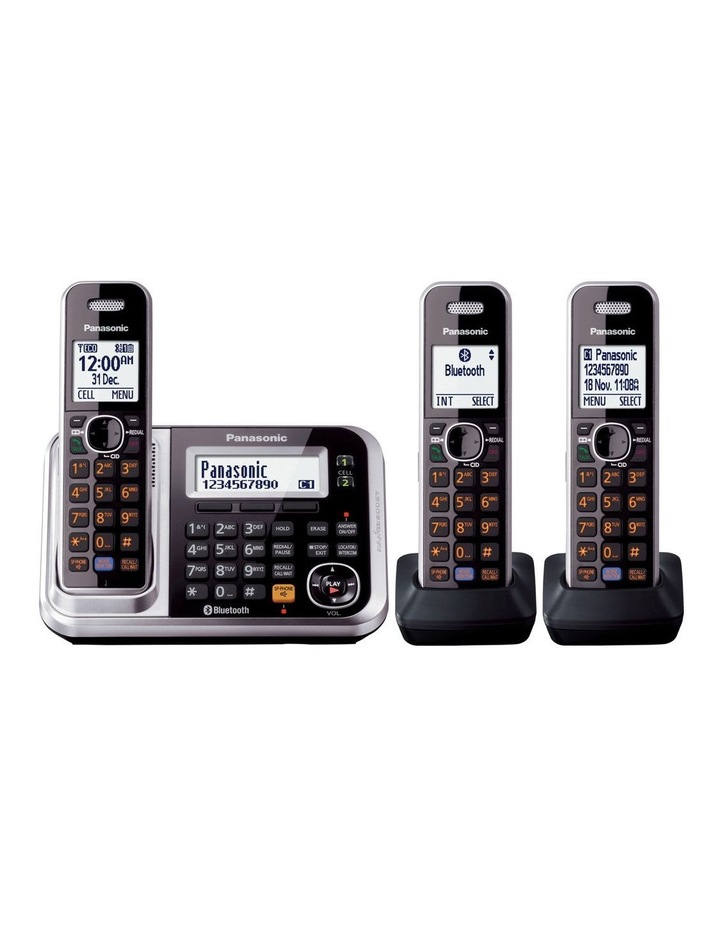 Kx-Tg7893Azs Dect Bluetooth Cordless Phone With Answering Machine Triple Pack image 2