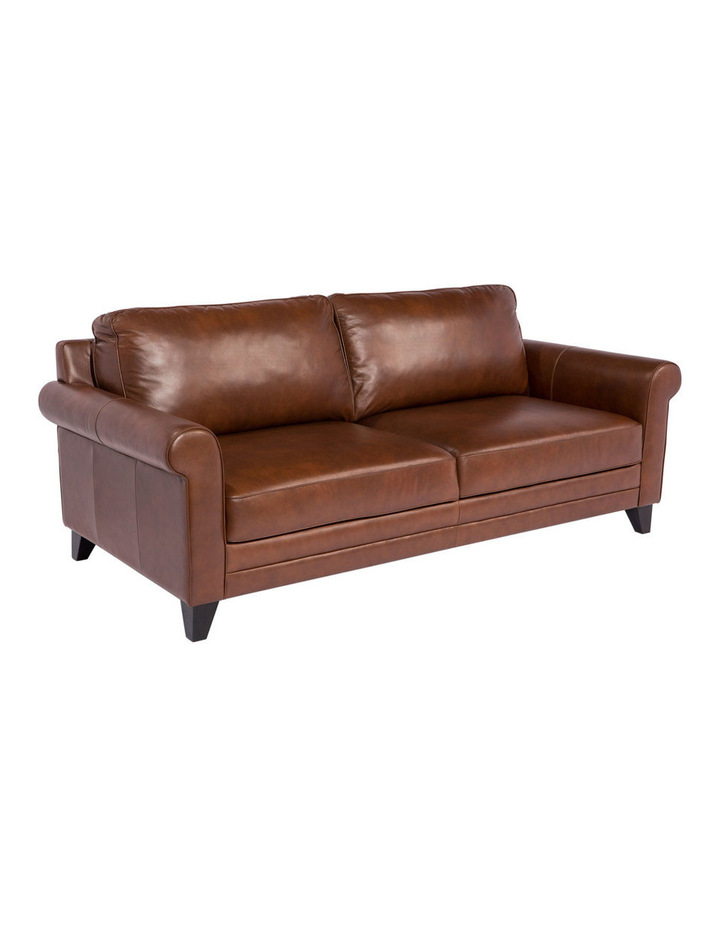 Vincent 3 seater sofa in Cat 27 Natural Brown Leather image 2