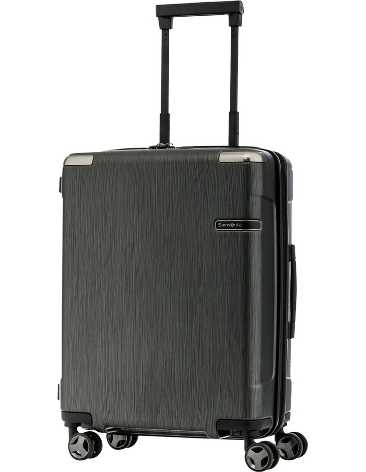 Evoa Expandable Small 55cm Hard Spin Suitcase - Brushed Black image 1