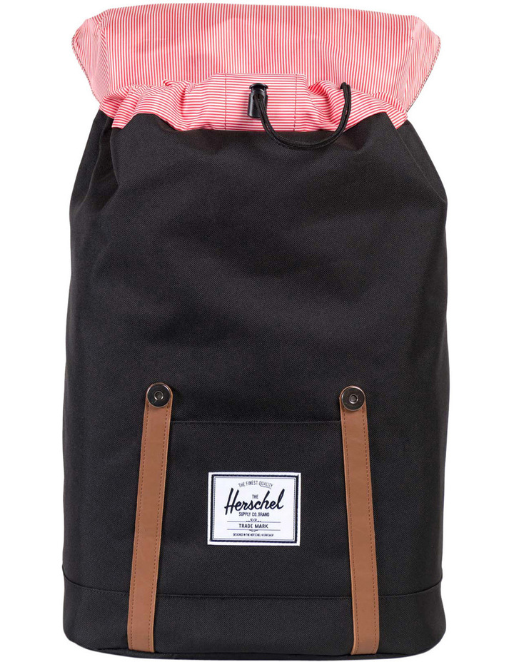 beea24c022e NEW Herschel 10066-00001-OS Retreat Backpack Black Tan Synthetic Leather