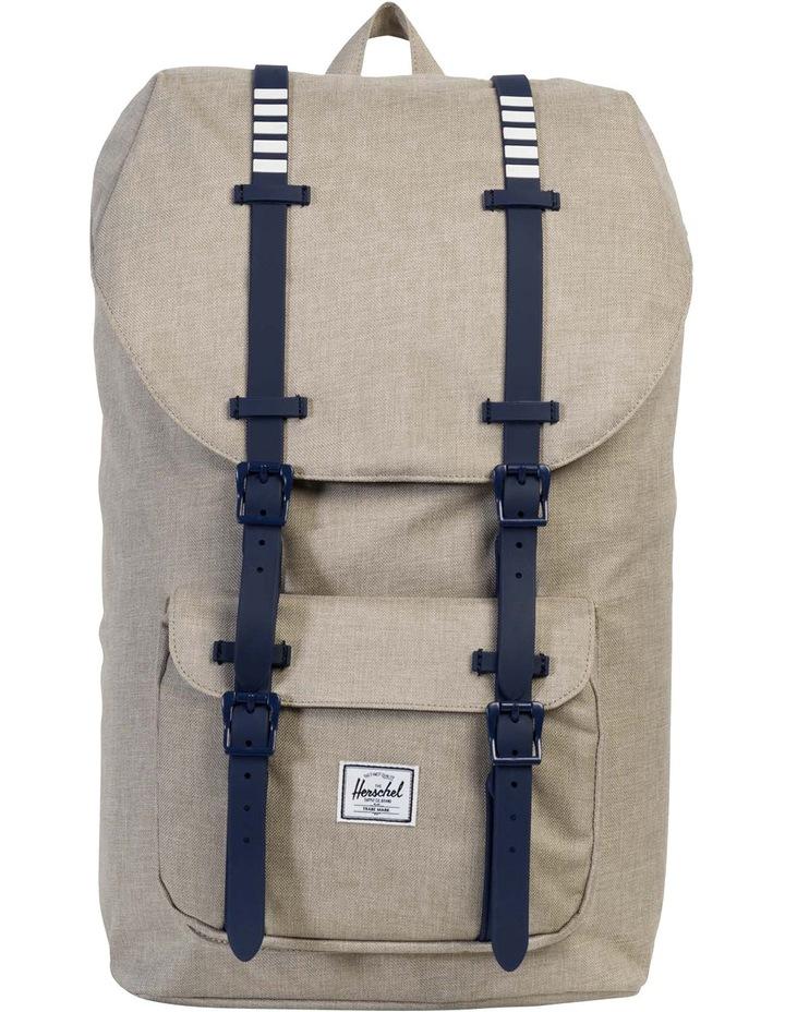 53dd5fe1f68 Little America Synthetic Leather Backpack Light Khaki Crosshatch image 1