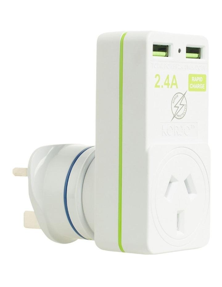 AUS & UK USB & Power Adaptor : USB 2x2UK image 1