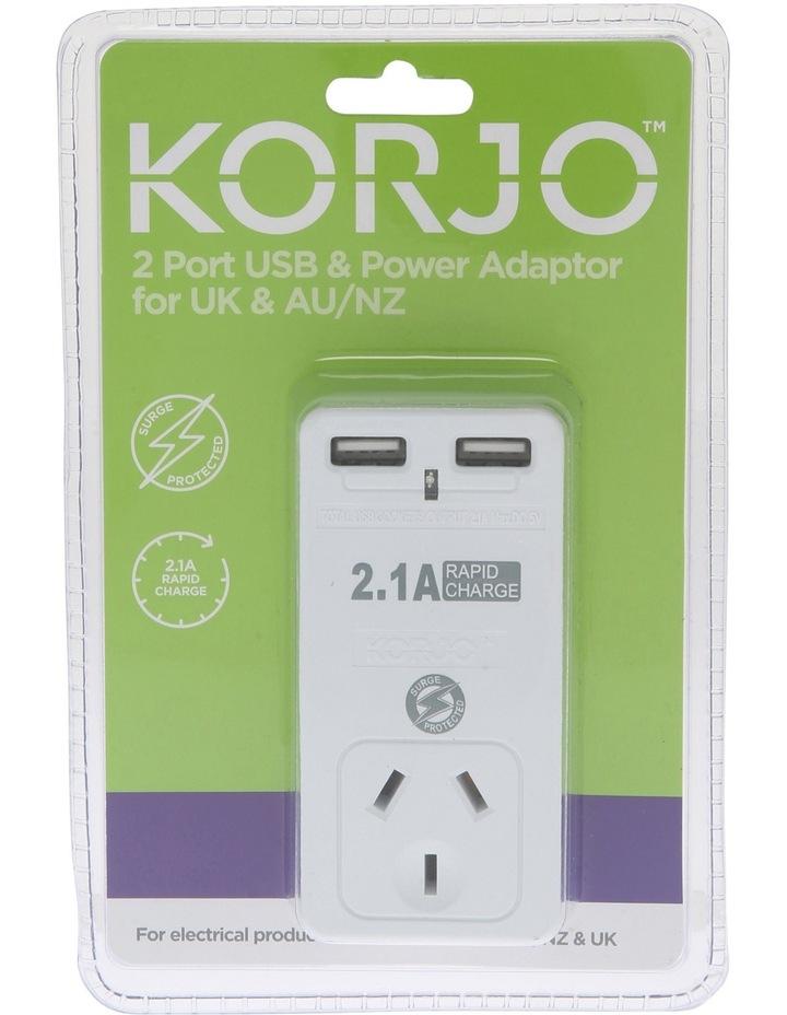 AUS & UK USB & Power Adaptor : USB 2x2UK image 2