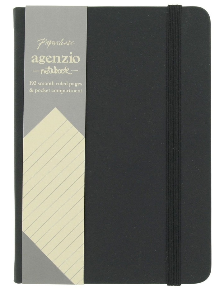 Agenzio Small Black Hardback Ruled Notebook image 1