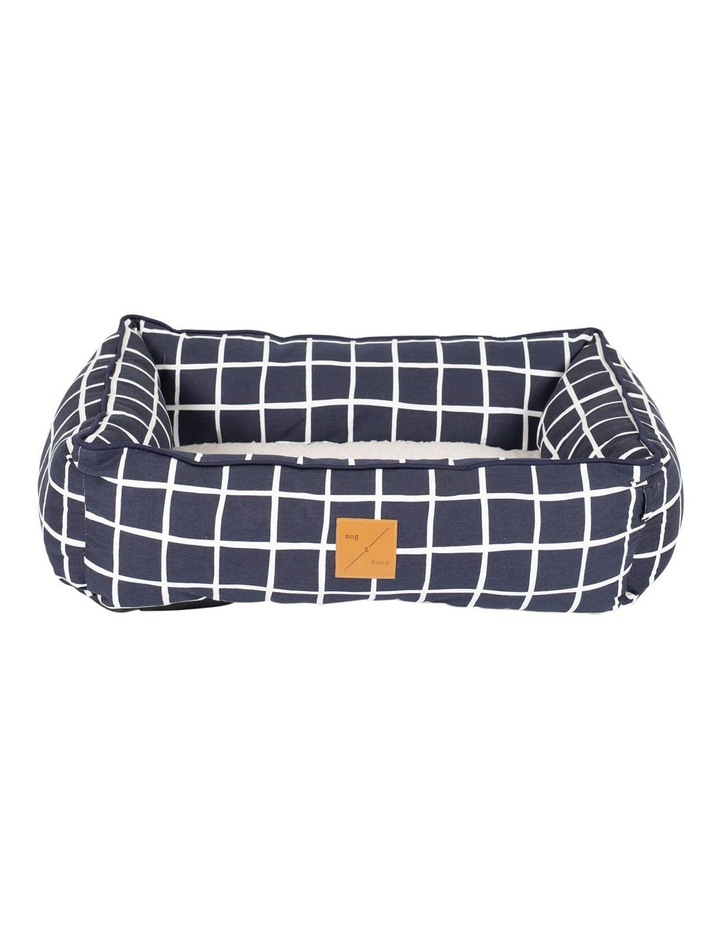 Bolster Bed Navy Check  Large image 1