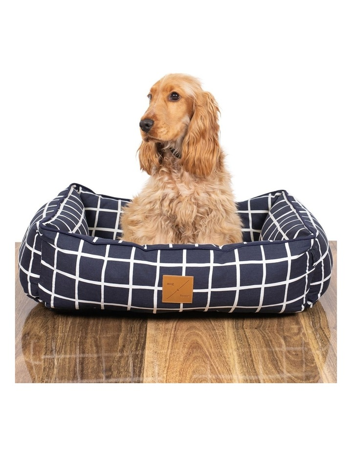 Bolster Bed Navy Check  Large image 3