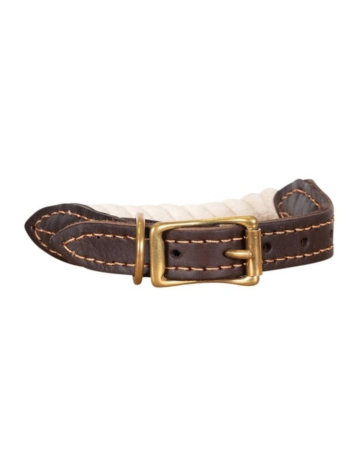 Genuine Leather & Brass Rope Collar Natural Small image 1