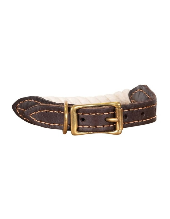 Genuine Leather & Brass Rope Collar Natural Large image 1