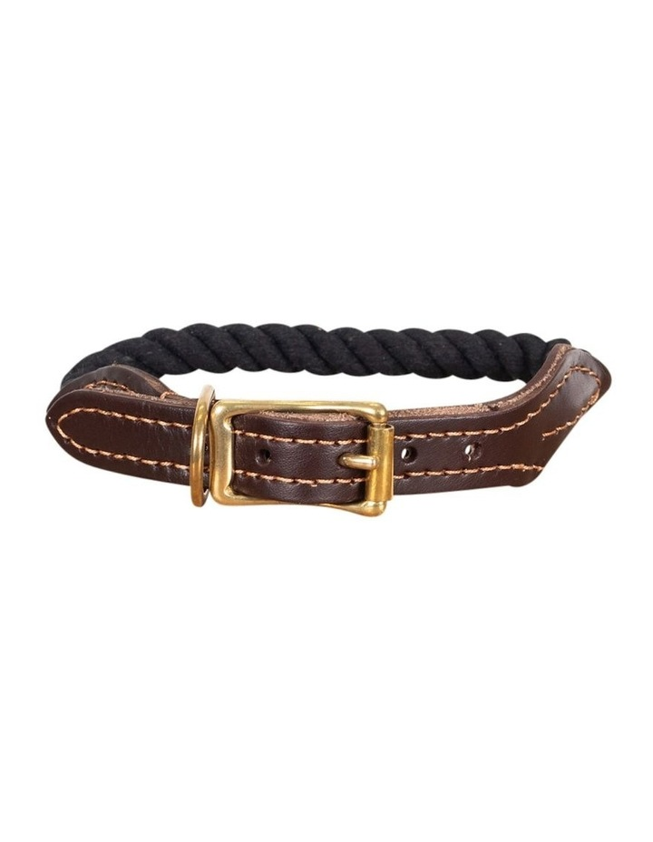 Genuine Leather & Brass Rope Collar Black Large image 1
