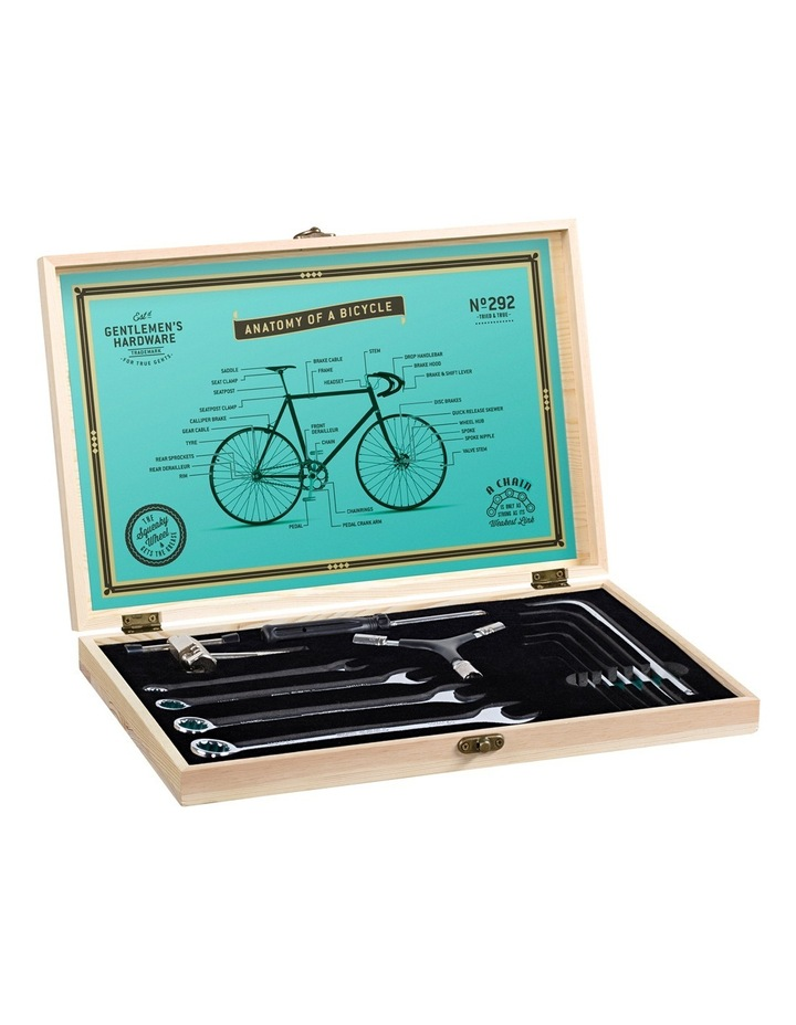 Bicycle Tool Kit Wooden Box and Stainless Steel Tools image 1