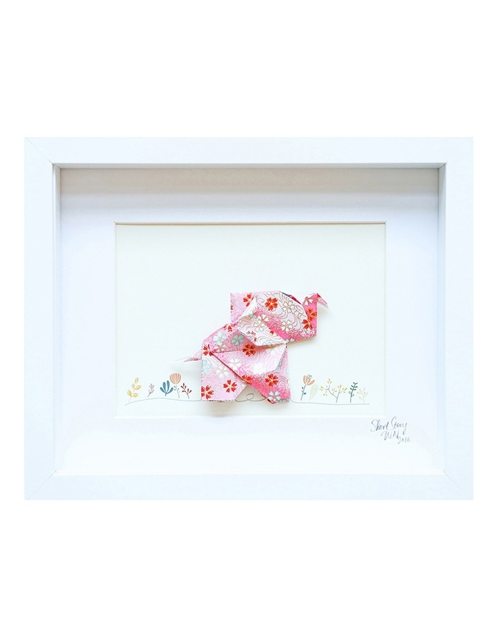 Happy Pink Elephant White Small Frame image 1