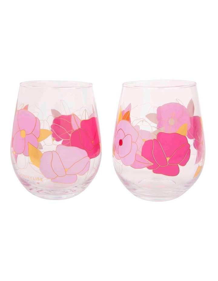 Stemless Cocktail Glasses Wild Posy Set of 2 image 1