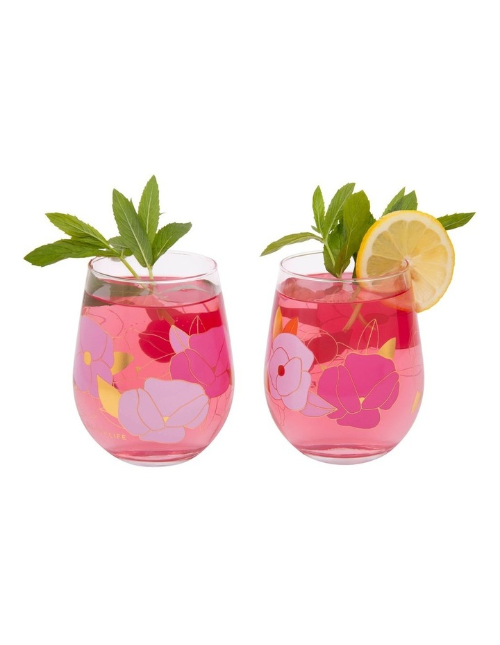 Stemless Cocktail Glasses Wild Posy Set of 2 image 3