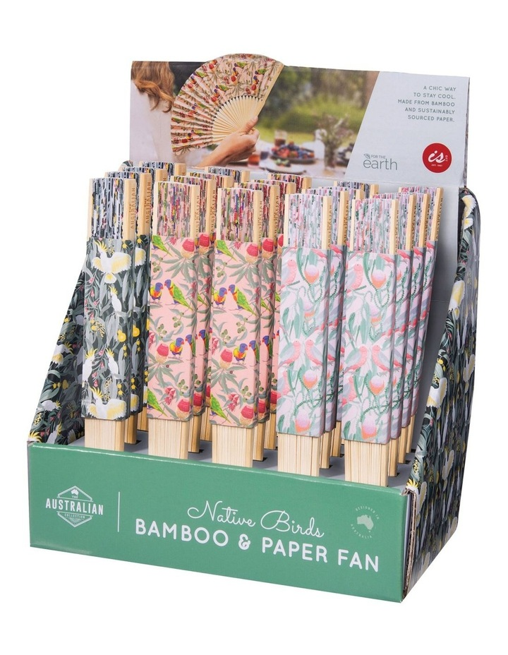 Bamboo and Paper Fans with Birds Print image 1