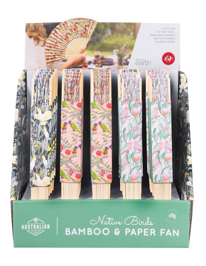 Bamboo and Paper Fans with Birds Print image 3