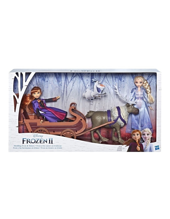 Frozen 2 Sledding Sven & Sisters Elsa & Anna Fashion Dolls image 1