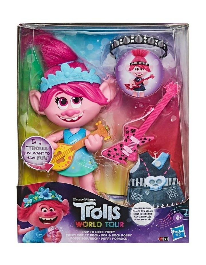 World Tour DreamWorks - Pop-to-Rock Poppy Singing Doll with 2 Different Looks & Sounds image 3