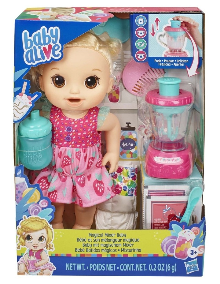 Baby Alive Magical Mixer Blonde Hair Baby Doll - Strawberry Shake with Blender Accessories image 2