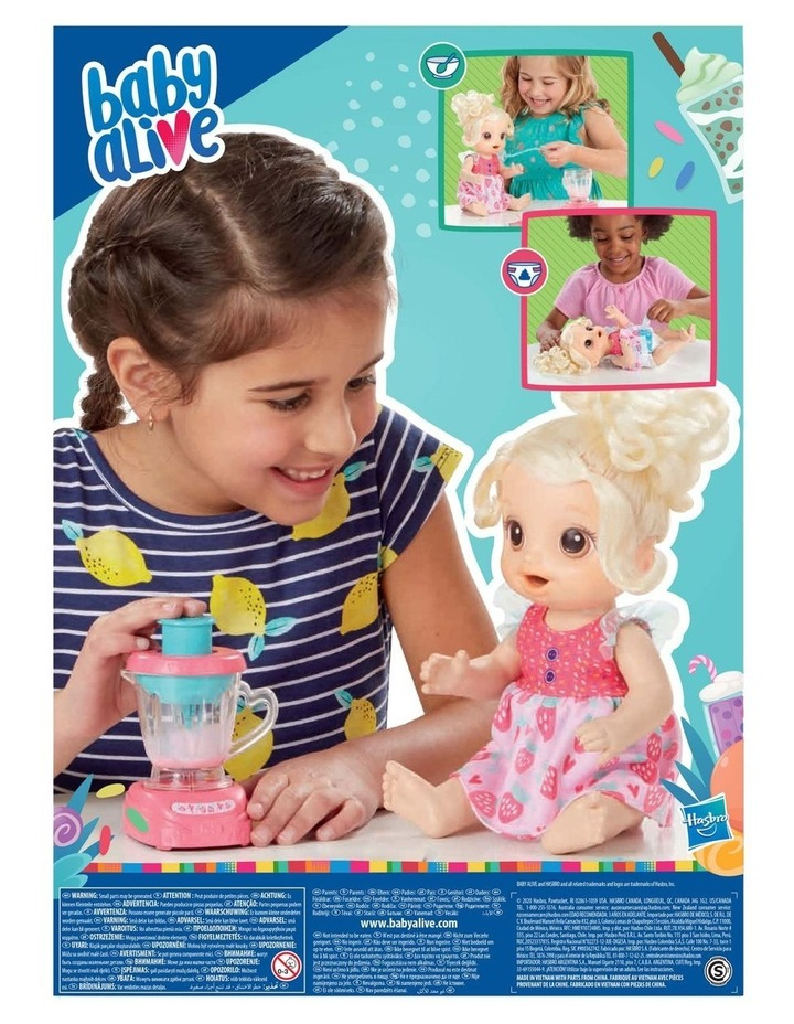 Baby Alive Magical Mixer Blonde Hair Baby Doll - Strawberry Shake with Blender Accessories image 3