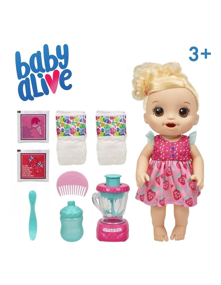 Baby Alive Magical Mixer Blonde Hair Baby Doll - Strawberry Shake with Blender Accessories image 4