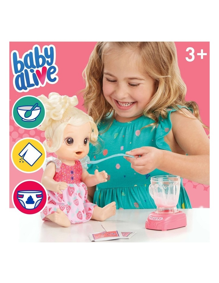 Baby Alive Magical Mixer Blonde Hair Baby Doll - Strawberry Shake with Blender Accessories image 5