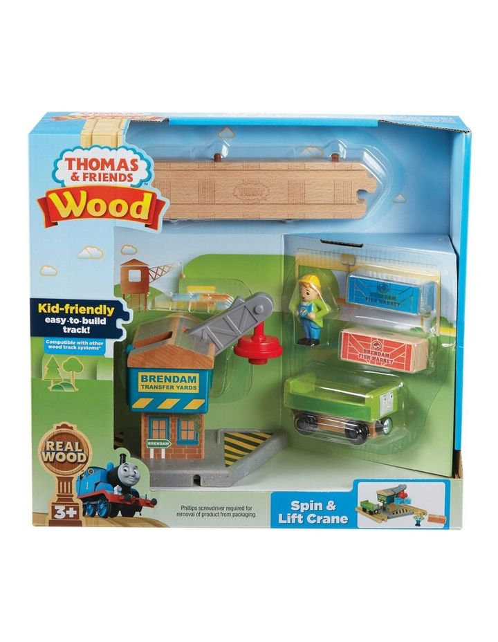 Wooden Railway Spin & Lift Crane image 1