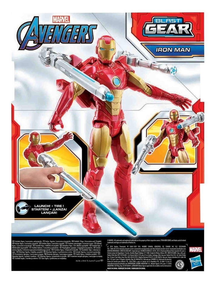 "Marvel Avengers Titan Hero Series Blast Gear Iron Man 12"" Action Figure - With Launcher, 2 Accessories & Projectile image 4"