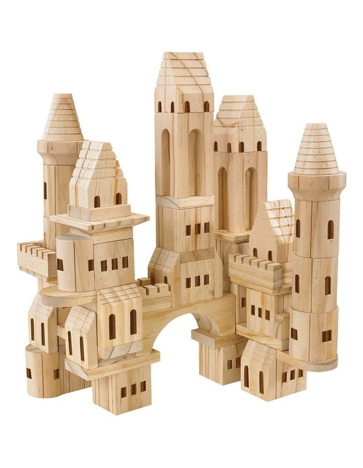 Toy Wood Castle Blocks 75pcs image 1