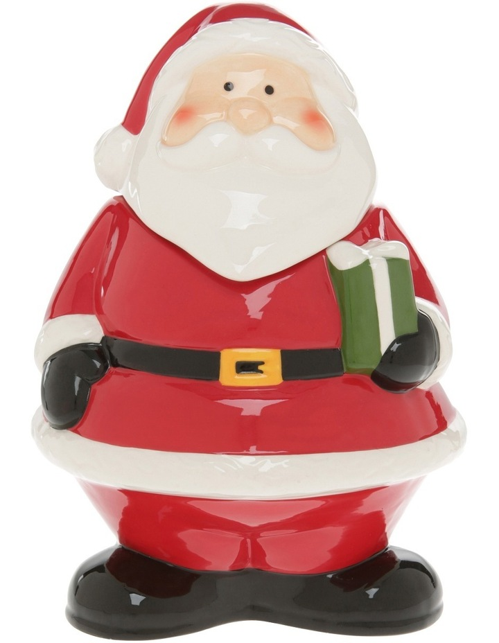 Fat Red Glass Santa Cookier Jar image 1