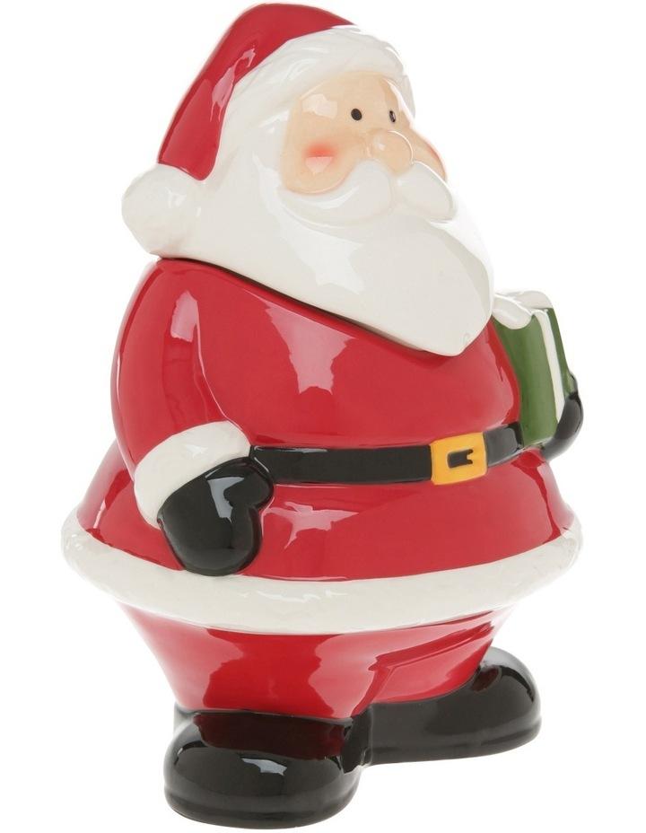 Fat Red Glass Santa Cookier Jar image 2