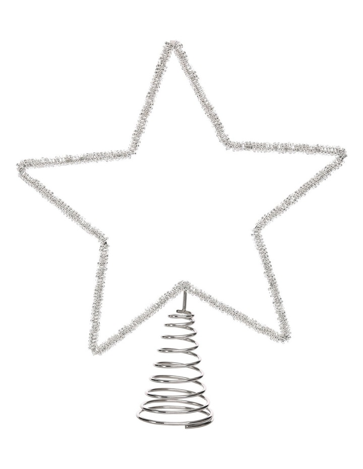 Eucalyptus 30cm Silver Beaded Metal Star Tree Topper image 1