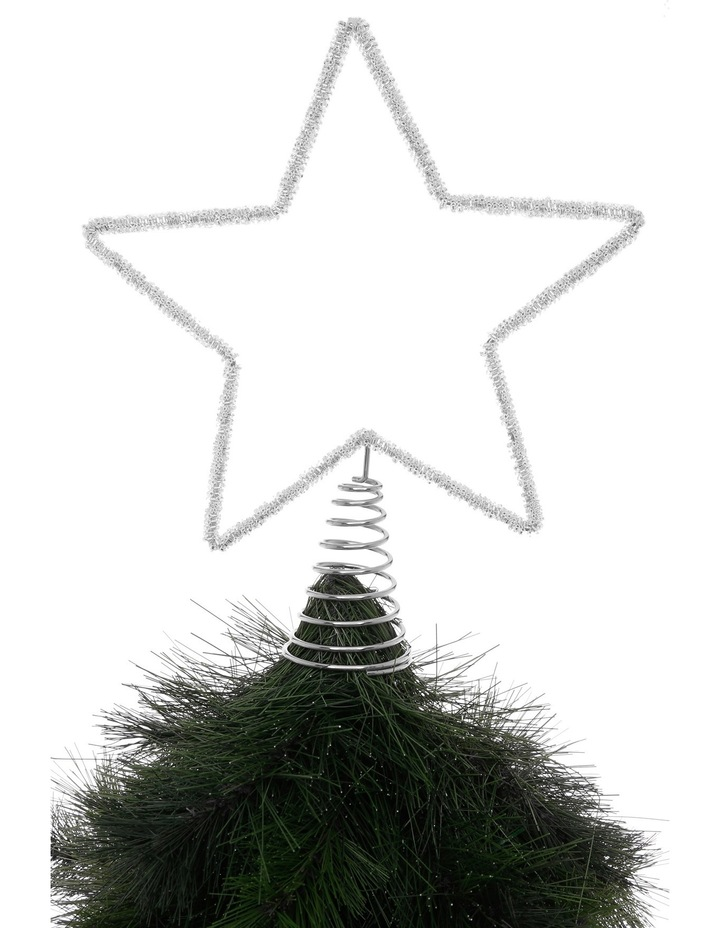 Eucalyptus 30cm Silver Beaded Metal Star Tree Topper image 2