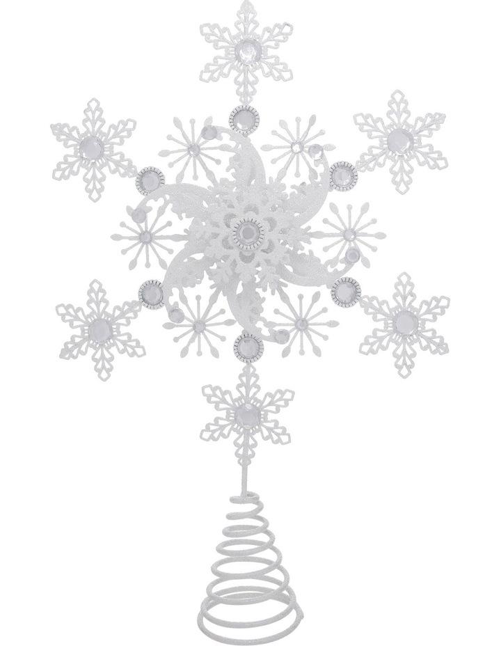 Luxe 38cm Metal White Glitter Snowflake Tree Topper image 1