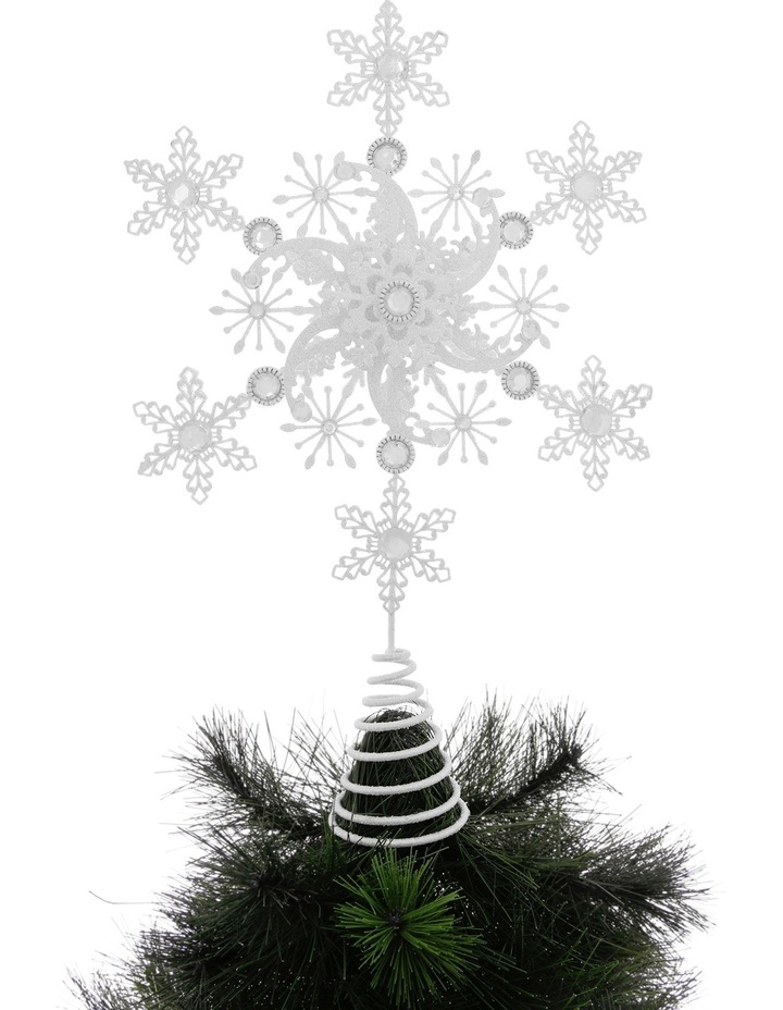Luxe 38cm Metal White Glitter Snowflake Tree Topper image 2