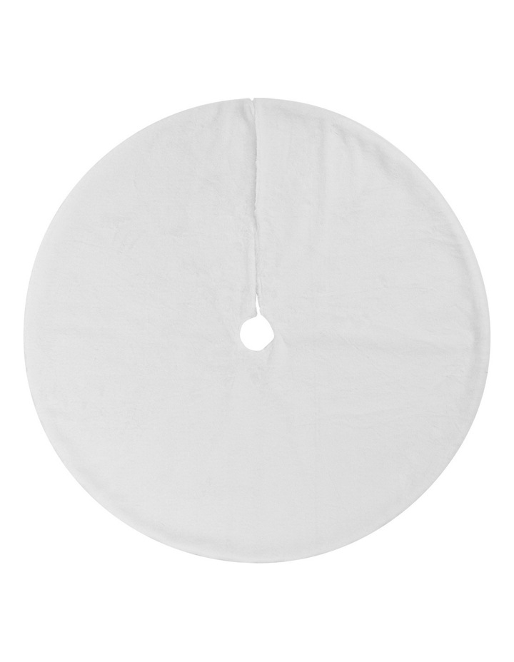 Luxe White Fur Tree Skirt image 1