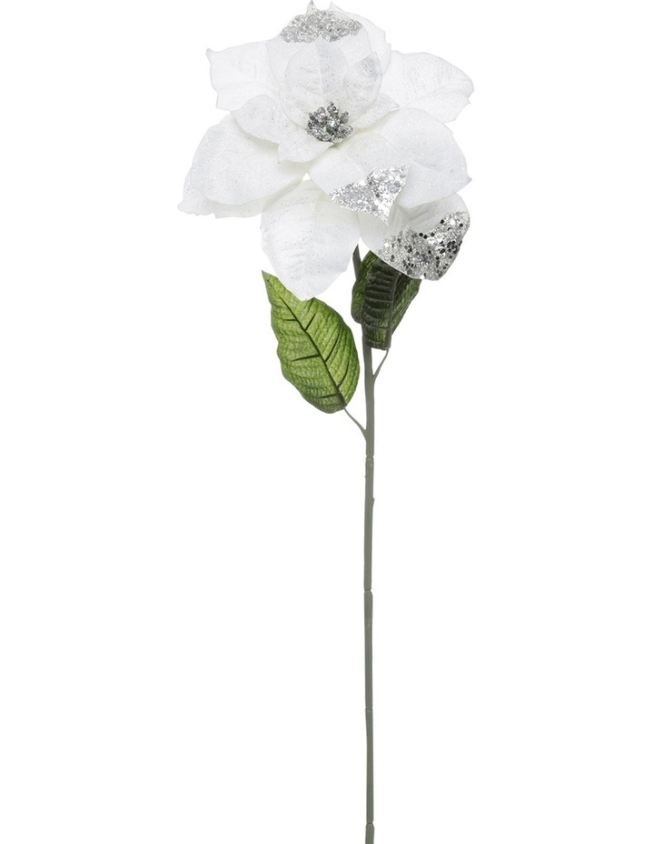 Luxe White Poinsettia With Glitter Stem Pick image 1
