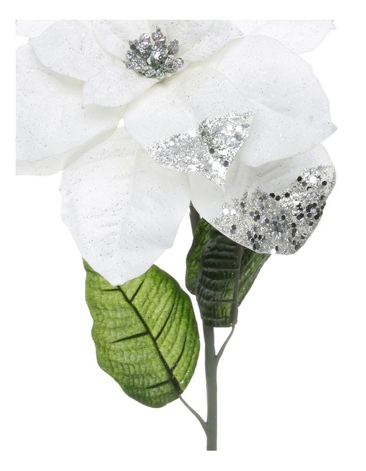 Luxe White Poinsettia With Glitter Stem Pick image 2