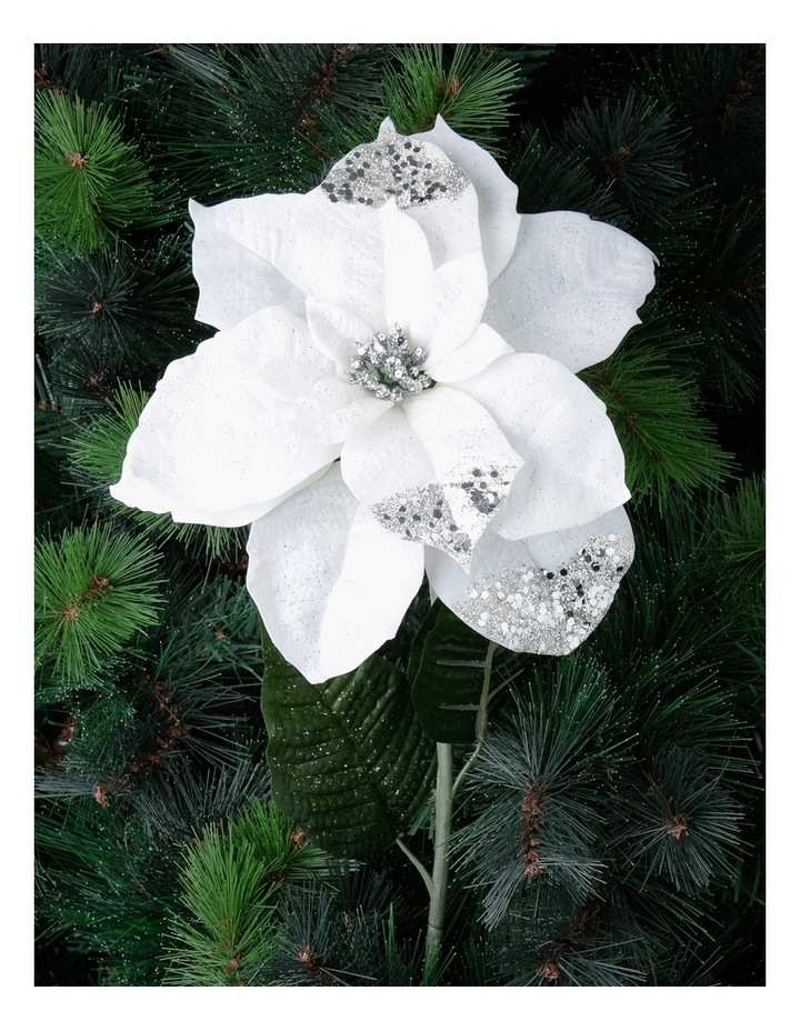 Luxe White Poinsettia With Glitter Stem Pick image 3