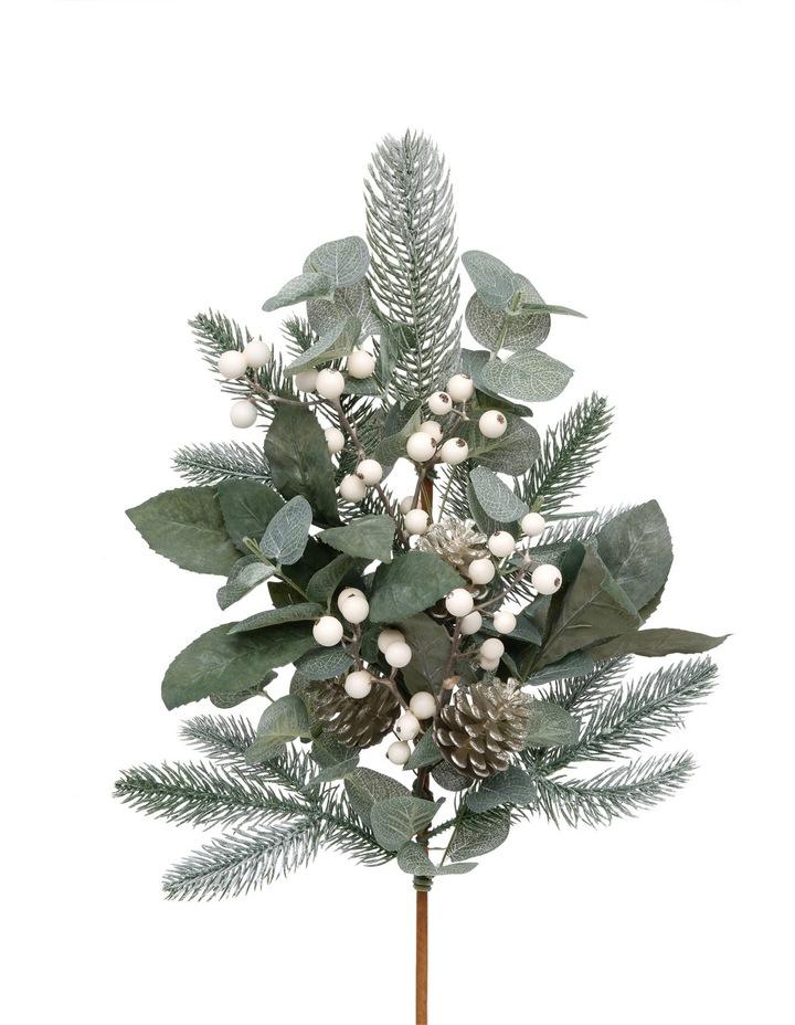 Eucalyptus White Berries and Plastic Silver Pinecones Pick image 1