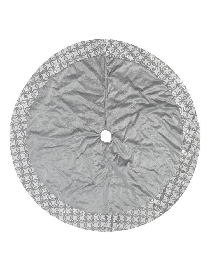 Luxe 122cm Grey Velvet With Silver/Wht Sequin Border Tree Skirt image 1