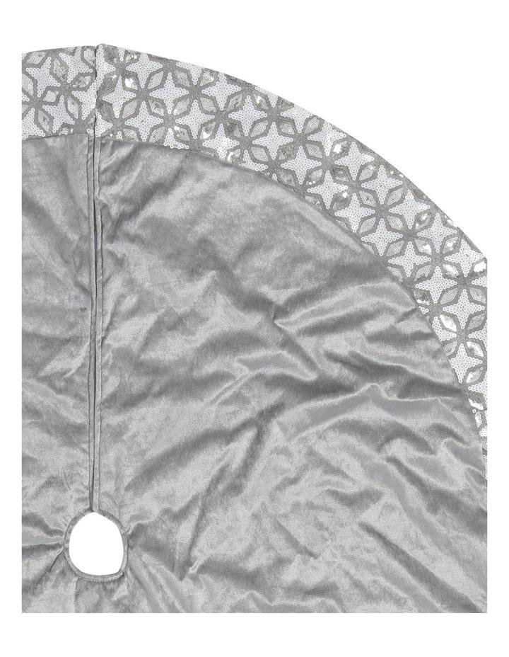 Luxe 122cm Grey Velvet With Silver/Wht Sequin Border Tree Skirt image 2