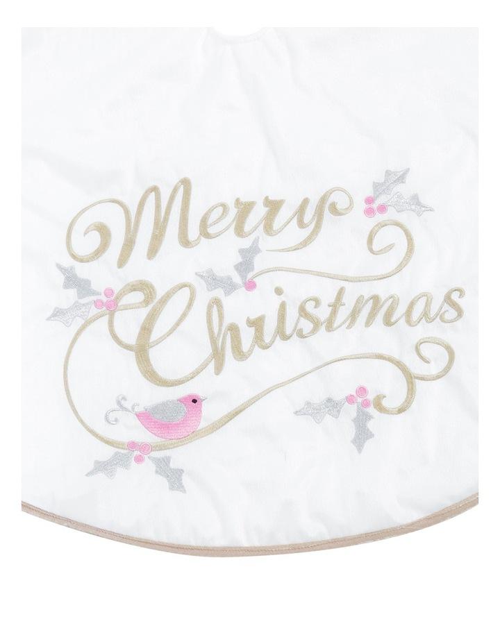 Luxe 1.2m Eggnog Merry Christmas with Robin Bird Skirt image 2