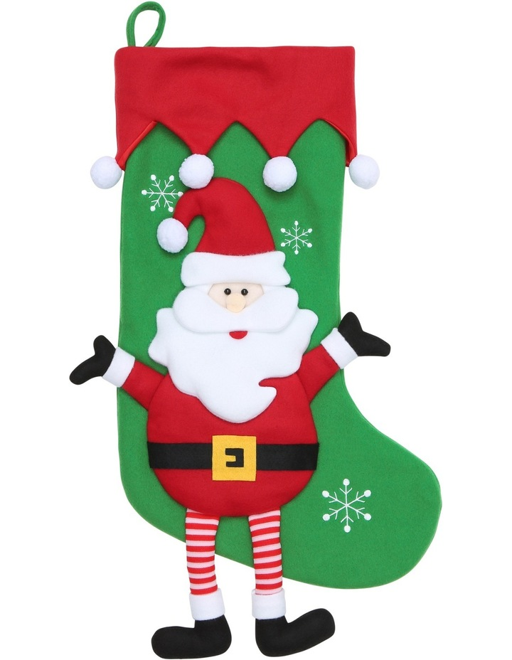 Heirloom Green and Red Santa with Dangling Legs Stocking image 1
