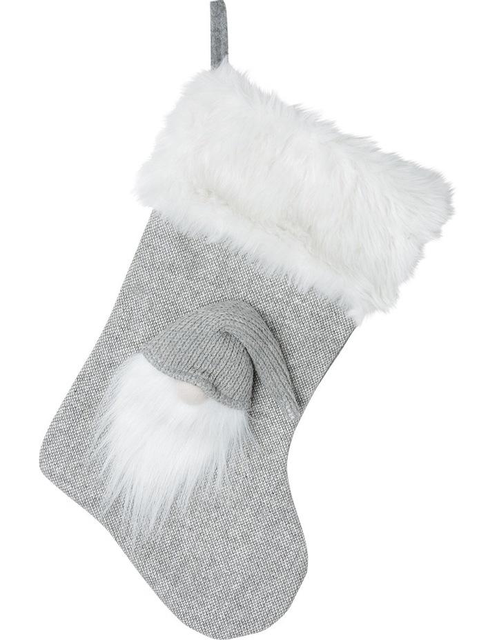 Eucalyptus Light Grey and White Fabric Troll Santa Stocking image 1